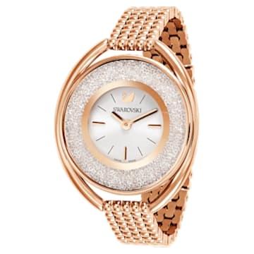 Crystalline Oval Uhr, Metallarmband, weiss, Rosé vergoldetes PVD-Finish - Swarovski, 5200341
