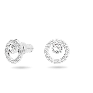 Creativity 耳釘, 圓形, 白色, 鍍白金色 - Swarovski, 5201707