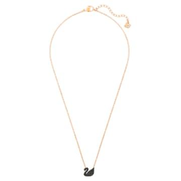 Swarovski Iconic Swan Pendant, Black, Rose-gold tone plated - Swarovski, 5204133