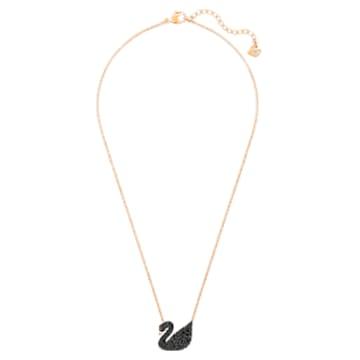 Pendente Swarovski Iconic Swan, Cigno, Nero, Placcato color oro rosa - Swarovski, 5204134