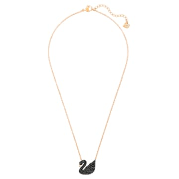 Swarovski Iconic Swan 鏈墜, 天鵝, 黑色, 鍍玫瑰金色調 - Swarovski, 5204134