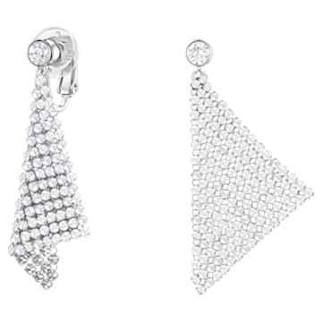 Fit clip earrings, Chandelier, White, Rhodium plated - Swarovski, 5214317