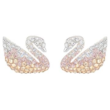 Swarovski Iconic Swan 穿孔耳环, 彩色设计, 镀铑 - Swarovski, 5215037