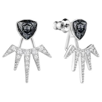 Fantastic Pierced Earring Jackets, Grey, Rhodium plating - Swarovski, 5216636
