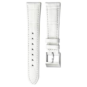 Cinturino per orologio 18mm, pelle con impunture, bianco, acciaio inossidabile - Swarovski, 5222595