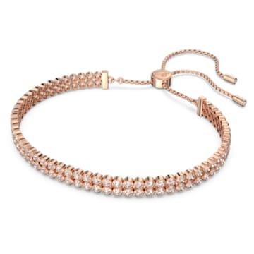 Brățară Subtle, albă, placată în nuanță aur roz - Swarovski, 5224182