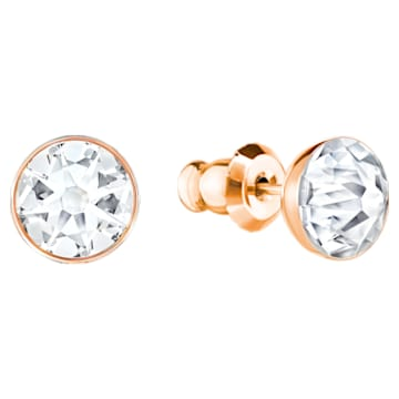 Forward Pierced Earring Jackets, White, Rose Gold Plating - Swarovski, 5230544