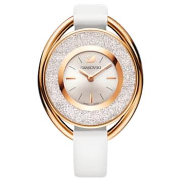 Ceas Crystalline Oval, curea din piele, alb, nuanță aur roz aplicată prin depunere fizică de vapori - Swarovski, 5230946