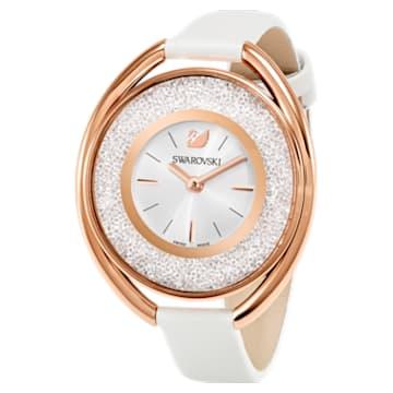 Reloj Crystalline Oval, Correa de piel, blanco, PVD en tono Oro Rosa - Swarovski, 5230946