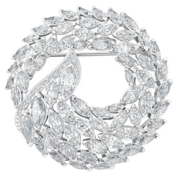 Aloft Brooch, White, Rhodium plated - Swarovski, 5240496