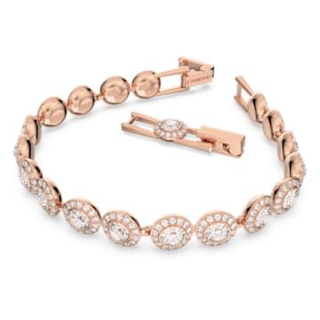 Angelic 手链, 圆形切割, 白色, 镀玫瑰金色调 - Swarovski, 5240513