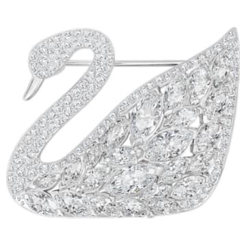 Swan Lake brooch, Swan, White, Rhodium plated - Swarovski, 5240582