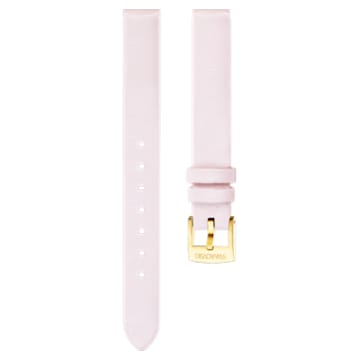 12mm Watch strap, Leather, Pink, Gold-tone plated - Swarovski, 5263241