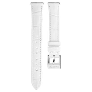 Correa de reloj 14mm, piel con costuras, blanco, acero inoxidable - Swarovski, 5263535