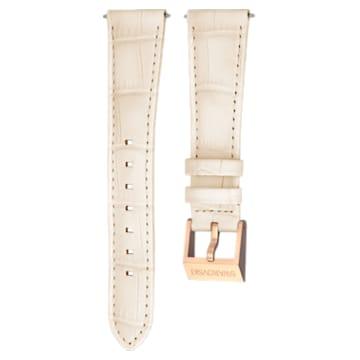 Correa de reloj 18mm, piel con costuras, beige, baño tono oro rosa - Swarovski, 5263558