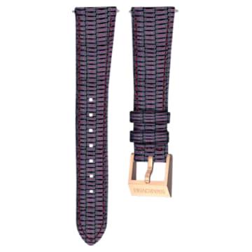 Cinturino per orologio 18mm, pelle con impunture, viola, placcato color oro rosa - Swarovski, 5263560