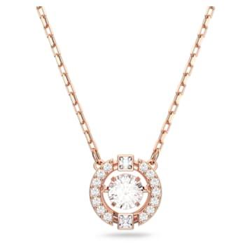 Swarovski Sparkling Dance 項鏈, 球形切割, 白色, 鍍玫瑰金色調 - Swarovski, 5272364