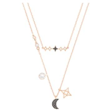 Collier multi rangs Swarovski Symbolic, Parure (2), Lune et étoile, Noir, Placage de ton or rosé - Swarovski, 5273290