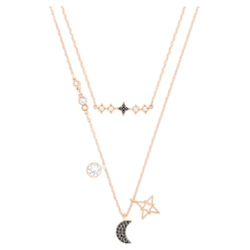 Swarovski Symbolic layered necklace, Set (2), Moon and star, Black, Rose-gold tone plated - Swarovski, 5273290