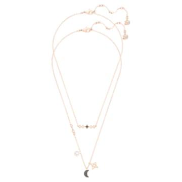 Swarovski Symbolic 层次项链, 套装 (2), 月亮和星星, 黑色, 镀玫瑰金色调 - Swarovski, 5273290