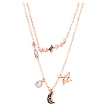 Swarovski Symbolic többrétegű nyaklánc, Szett (2), Hold és csillag, Fekete, Rózsaarany-tónusú bevonattal - Swarovski, 5273290