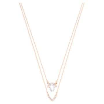 Gallery Pear Layered Necklace, White, Rose gold plating - Swarovski, 5278755