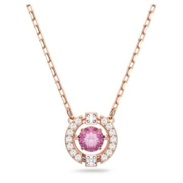 Swarovski Sparkling Dance Round Колье, Красный Кристалл, Покрытие оттенка розового золота - Swarovski, 5279421