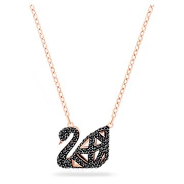 Collier Facet Swan, noir, Finition mix de métal - Swarovski, 5281275