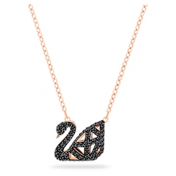 Facet Swan 项链, 黑色, 多种金属润饰 - Swarovski, 5281275