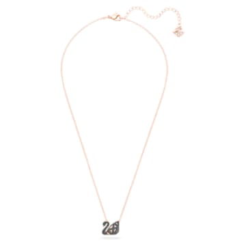 Dazzling Swan 項鏈, 天鵝, 黑色, 多種金屬潤飾 - Swarovski, 5281275