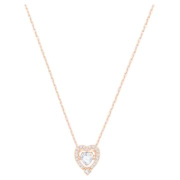Κολιέ Swarovski Sparkling Dance Heart, λευκό, επιχρυσωμένο σε χρυσή ροζ απόχρωση - Swarovski, 5284188