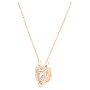 Collana Swarovski Sparkling Dance Heart, bianco, Placcato oro rosa - Swarovski, 5284188
