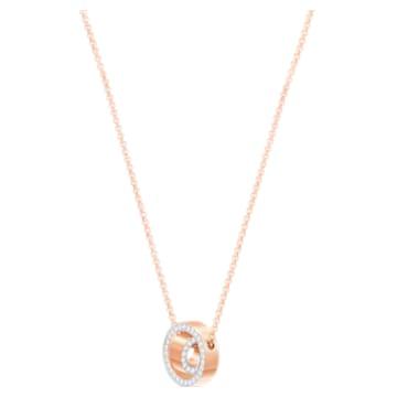 Pandantiv Hollow, alb, placat în nuanță aur roz - Swarovski, 5289495
