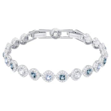 Angelic Square Armband, Blau, Rhodiniert - Swarovski, 5289514