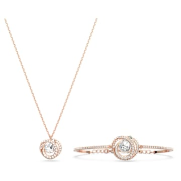 Generation 套装, 白色, 镀玫瑰金色调 - Swarovski, 5290681