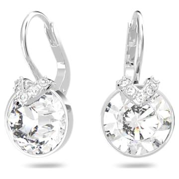 Bella V earrings, Round, White, Rhodium plated - Swarovski, 5292855