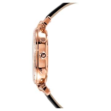 Era Journey 腕表, 真皮表带, 黑色, 玫瑰金色调 PVD - Swarovski, 5295320