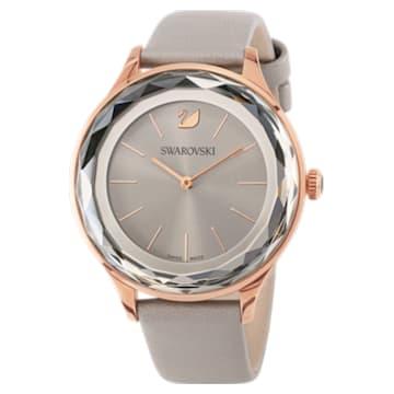 Octea Nova Uhr, Lederarmband, grau, Rosé vergoldetes PVD-Finish - Swarovski, 5295326