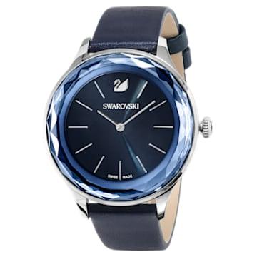 Montre Octea Nova, Bracelet en cuir, bleu, acier inoxydable - Swarovski, 5295349