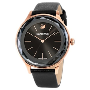 Octea Nova 腕表, 真皮表带, 黑色, 玫瑰金色调 PVD - Swarovski, 5295358