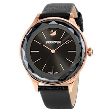 Zegarek Octea Nova, pasek ze skóry, czarny, powłoka PVD w odcieniu różowego złota - Swarovski, 5295358