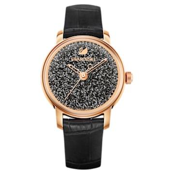 Crystalline Hours Uhr, Lederarmband, Schwarz, Roségold-Legierungsschichtes PVD-Finish - Swarovski, 5295377