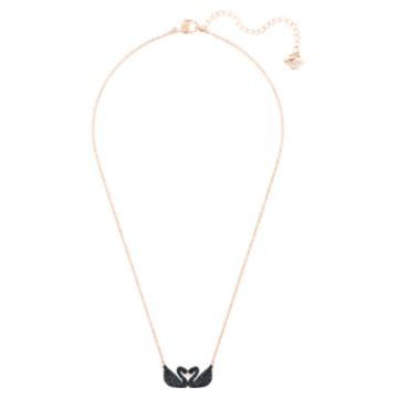 Collana Swarovski Iconic Swan, Cigno, Nero, Placcato color oro rosa - Swarovski, 5296468