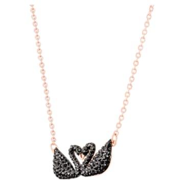 Collier Swarovski Iconic Swan, Cygne, Noir, Métal doré rose - Swarovski, 5296468