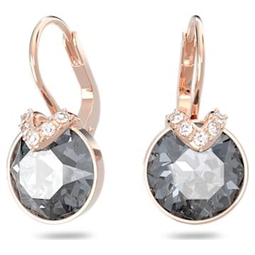 Bella V earrings, Round, Grey, Rose-gold tone plated - Swarovski, 5299317
