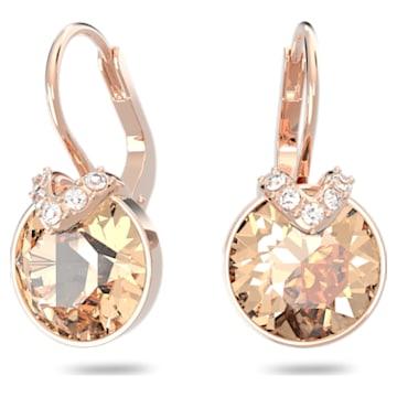 Bella V 穿孔耳环, 圆形切割, 粉红色, 镀玫瑰金色调 - Swarovski, 5299318
