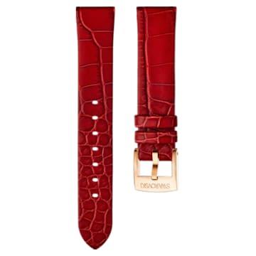 18mm Uhrenarmband, Leder, rot, Rosé vergoldet - Swarovski, 5302064