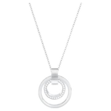 Hollow pendant, Circular, Medium, White, Rhodium plated - Swarovski, 5349345
