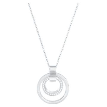 Pendentif Hollow, Circulaire, medium, Blanc, Métal rhodié - Swarovski, 5349345