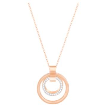 Pandantiv Hollow, alb, placat în nuanță aur roz - Swarovski, 5349418
